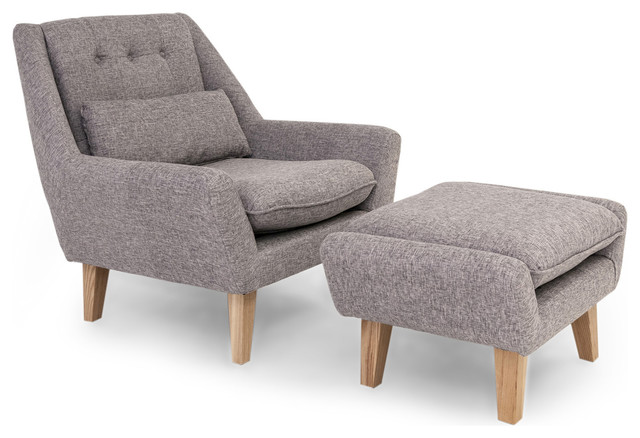Stuart Midcentury Modern Lounge Chair and Ottoman Deco Gray Vintage Twill