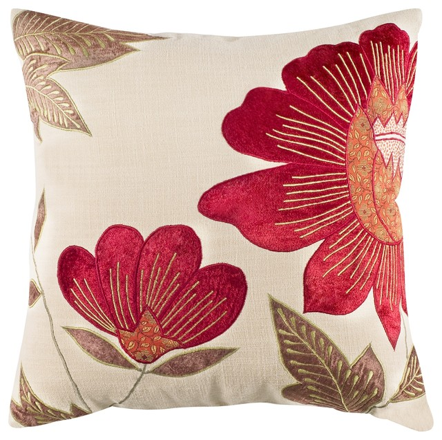 Burgundy Floral Throw Pillows : Floral-Patterned Ivory and Burgundy Throw Pillow - Transitional - Decorative Pillows - other ...