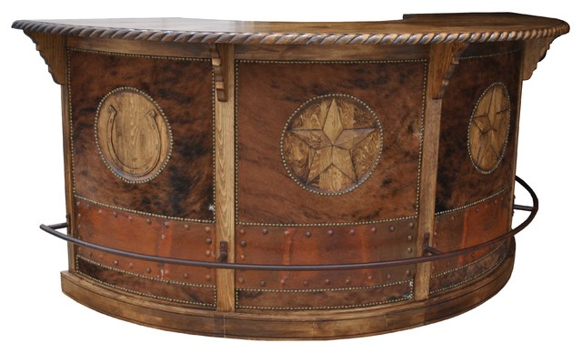 Saloon bar with cowhide sud ouest am ricain meuble bar for Meuble bar americain