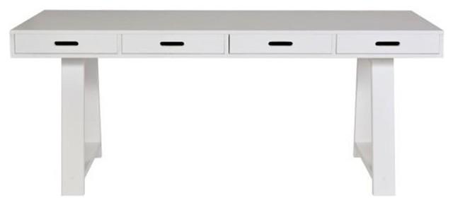 Bureau console 4 tiroirs en pin teuna couleur blanc moderne meuble bureau - Bureau console blanc ...
