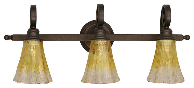 Curl three light bath vanity light bronze with 5 5 inch - Champagne bronze bathroom vanity light ...