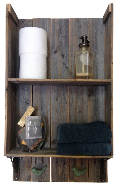 Southern Charm Wall Shelf Barn Wood Rustic Bathroom Cabinets Shelv