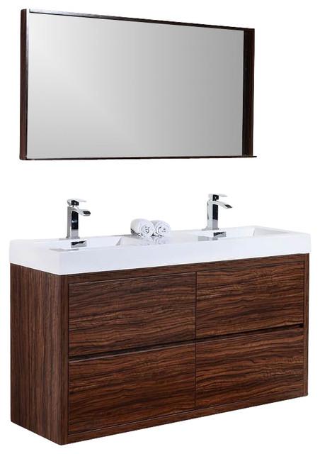 bliss 59 free standing double sink modern bathroom vanity brazilian walnut a contemporary. Black Bedroom Furniture Sets. Home Design Ideas