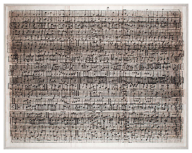 Layered sheet music cacophony wall art unframed - Michael in the bathroom sheet music ...