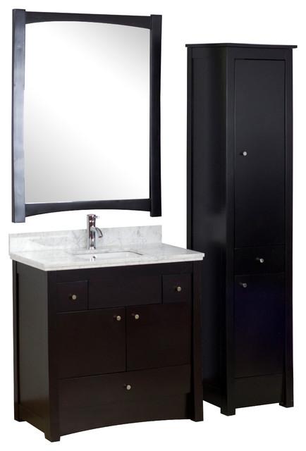 Birch Wood Veneer Vanity Set In Distressed Antique Walnut 36 X18 5 Transitional Bathroom
