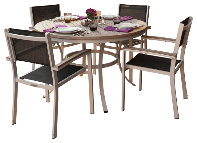 Travira 5 Piece Dining Set With Vintage Tekwood And Resin