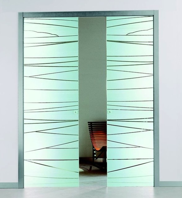 Etched glass pocket sliding door contemporary interior for Frosted glass sliding doors