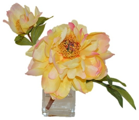 Yellow peony in cube traditional artificial flower for Artificial bees for decoration