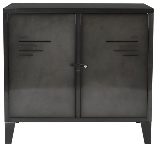 lofter commode 2 portes en m tal gris industriel. Black Bedroom Furniture Sets. Home Design Ideas