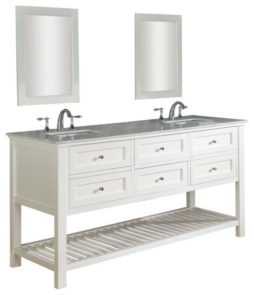 Mission spa 70 white vanity carrera marble top for Marble top console sink