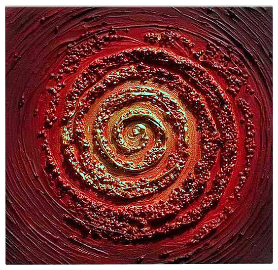 Oil Painting Abstract Modern Heavy Texture Red Swirl