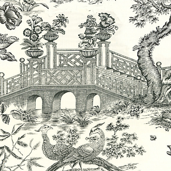 Black And White Toile Rug: Black And White Asian Toile Linen Fabric