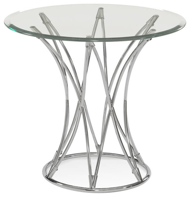 Mercer Modern Chrome Metal Glass Round End Table Side  : side tables and end tables from www.houzz.com size 618 x 640 jpeg 55kB