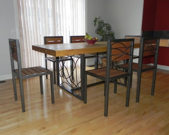 Dining Table with a Butcher Block Top and Hand Forged Artisan Base - Contemporary - Dining ...