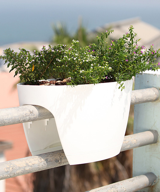 Modern Railing Planters Custom By Rushton: White Railing & Deck Window Box