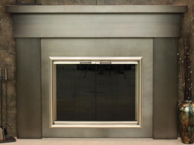 Custom Contemporary Steel Mantel Shelf Contemporary Fireplace Mantels By Fireplace Doors