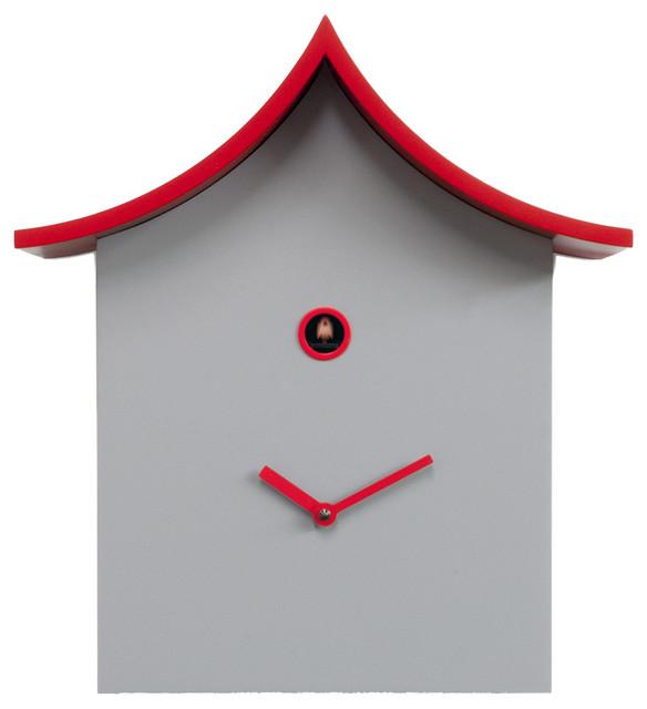 Ku ku kina 2285 white red wall clock contemporary cuckoo clocks by modo bath - Contemporary cuckoo clock ...