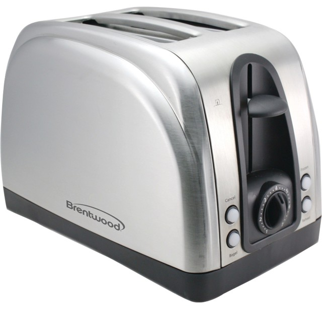 Brentwood 2 Slice Elegant Toaster With Brushed Stainless Steel Finish Contemporary Toasters