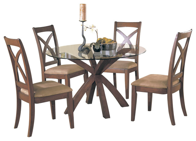 Homelegance star hill 3 piece round glass dining room set for Traditional round dining room sets