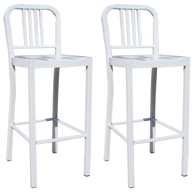 Amerihome 2 piece metal counter height chair set white bar stools and counter stools by - Aluminum counter height stools ...