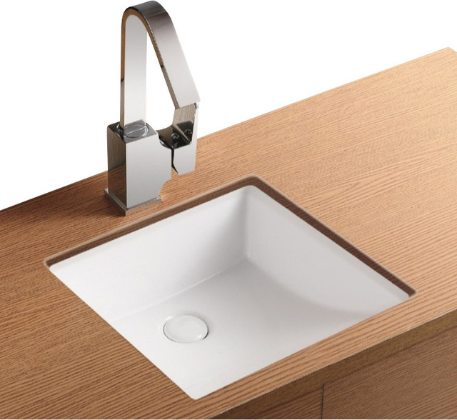 Square White Ceramic Undermount Bathroom Sink Contemporary Bathroom Sinks By Thebathoutlet