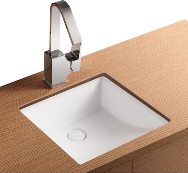 Square White Ceramic Undermount Bathroom Sink