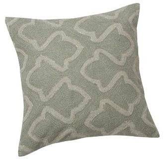 Smoke Blue Throw Pillow : Brielle Crewel Embroidered Metallic Pillow Cover 20