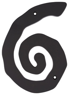 Atlas homewares large scroll 6 black contemporary for Big modern house numbers