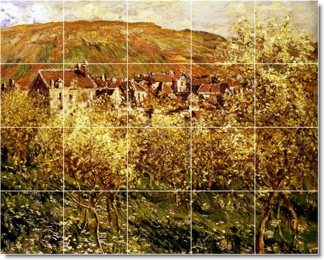 Apple trees in blossom tile mural by claude monet for Apple tree mural
