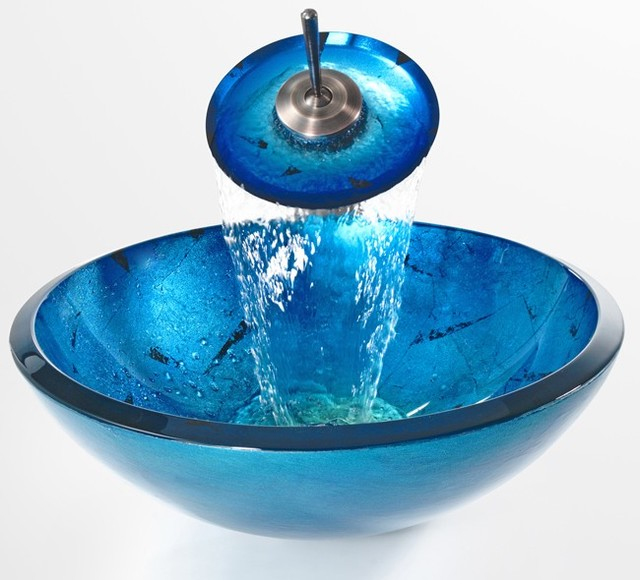 Kraus C-GV-204-19mm-10 Galaxy Blue 19mm Glass Vessel Sink and ...