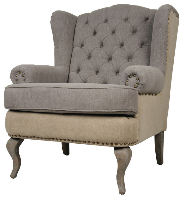 Tufted Wingback Fabric Armchair - Traditional - Armchairs ...