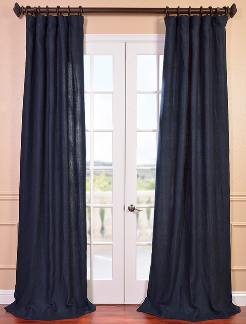 Denim Blue French Linen Curtain Contemporary Curtains