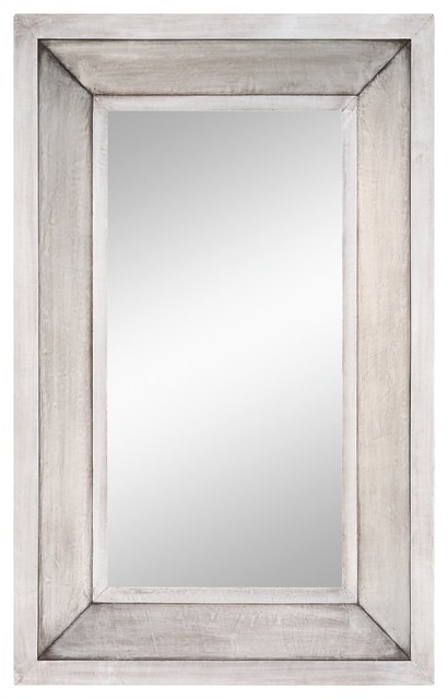Garner Silver Square Mirror Transitional Bathroom