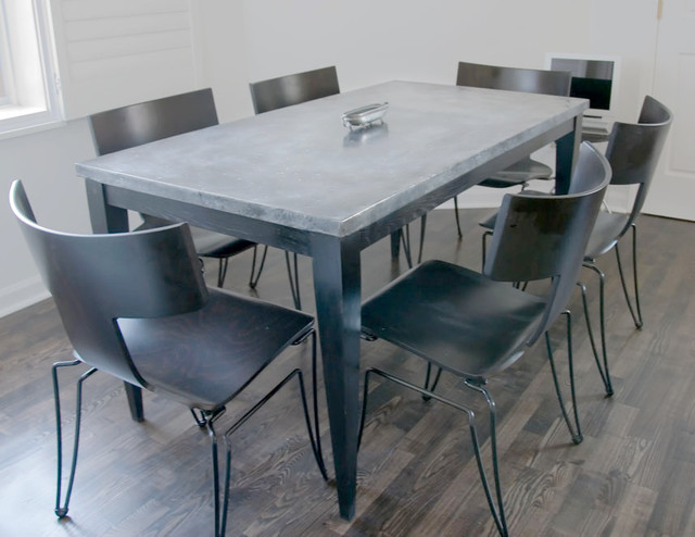 Custom Zinc Top kitchen table in painted oak  : contemporary dining tables from www.houzz.com size 640 x 494 jpeg 69kB