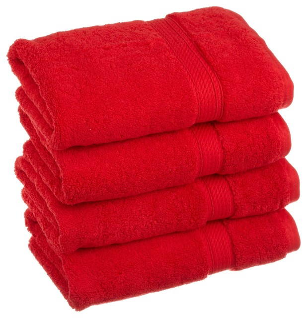 Red Towels Bathroom: Luxurious Egyptian Cotton 900 Gram 4-Piece Red Hand Towel