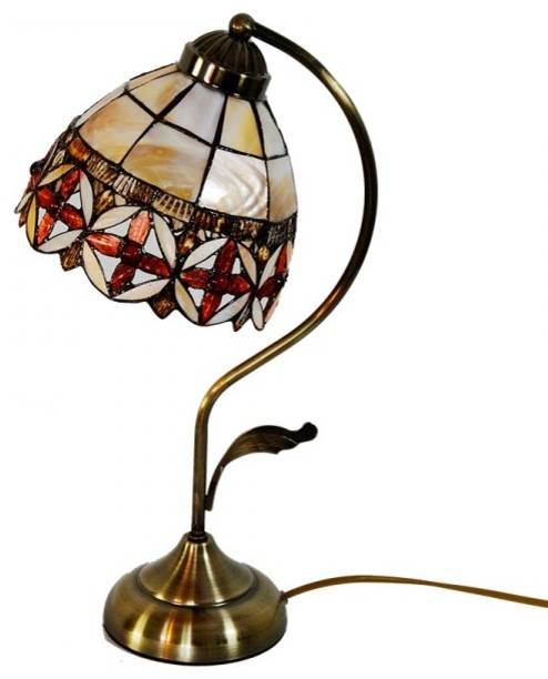 Floral Stained Sea Shell Shade Tiffany Desk Lamp