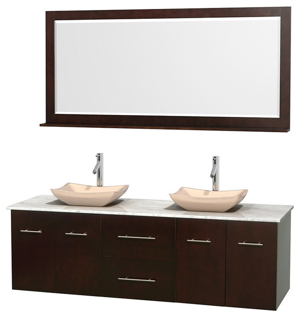 72 Double Bathroom Vanity In Espresso Marble Countertop Sinks And Mir