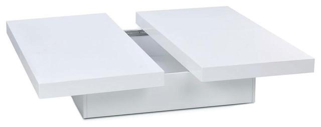 contemporary white lacquer square coffee table shimo