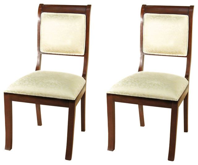 Pair of 2 Solid Dark Cherry Upholstered Cream Dining Side ...