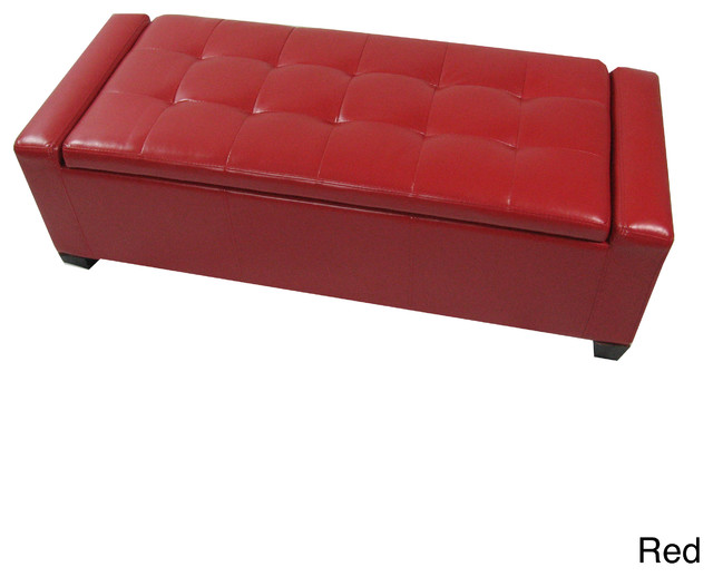 Contemporary Leatherette Storage Ottoman Bench Contemporary Accent And Storage Benches By