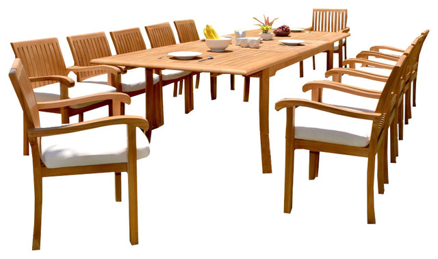13 piece teak dining set 117 double rectangle table 12