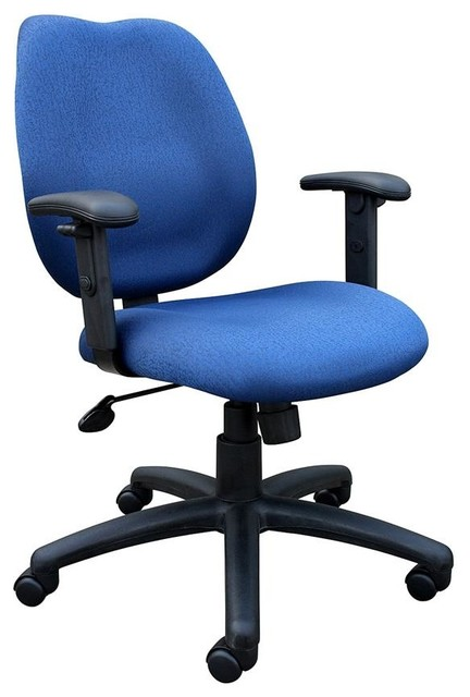 Task Chair W Adjustable Arms In Blue Contemporary