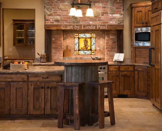 country kitchen with cowboy backsplash tiles rustic kitchen denver by linda paul. Black Bedroom Furniture Sets. Home Design Ideas