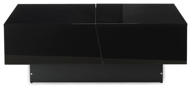 Pero table basse noire avec rangement de bar int gr contemporain table b - Table basse avec bar integre ...