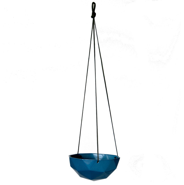 Hanging Geo Planter, Blue - Modern - Plant Pots & Planters - by Kelly ...
