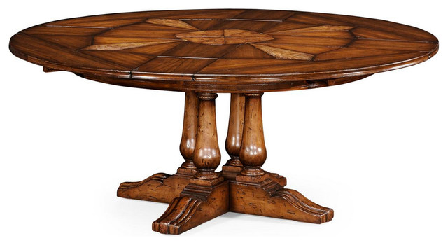 59 to 74 round country style dining table with hidden for Round dining table with hidden chairs