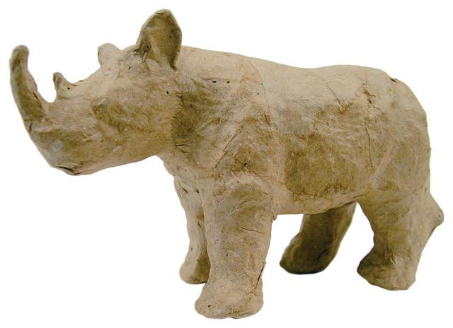 Paper mache figurine rhino traditional decorative for Paper mache objects