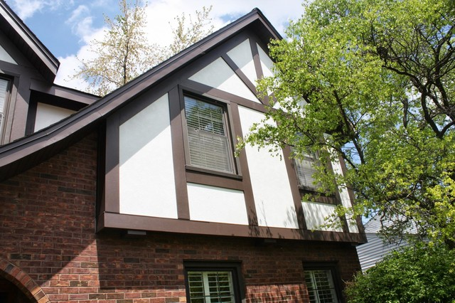 Stucco Cement Board Siding : Tudor home with james hardie fiber cement stucco trim