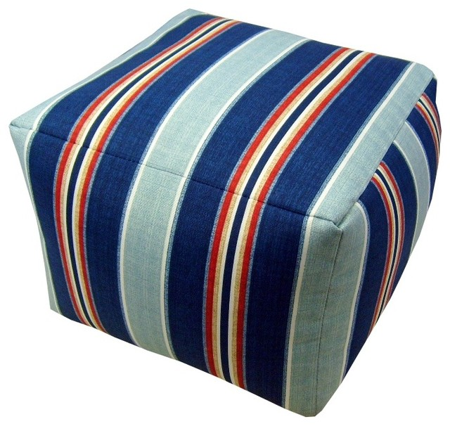 Nautical Floor Pillows : Nautical Stripe Indoor/Outdoor Pouf - Floor Pillows And Poufs - by lava