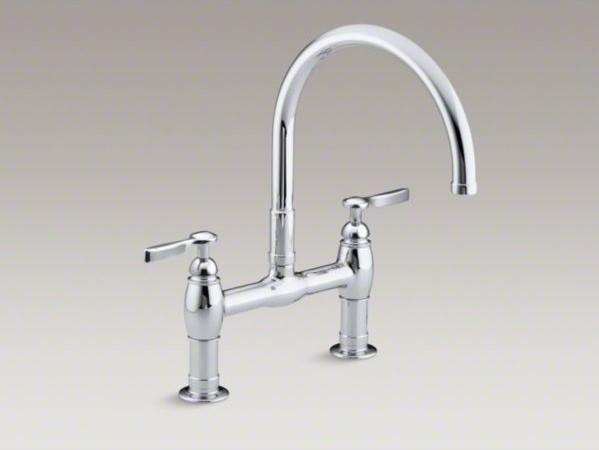 Kohler Parq R Two Hole Deck Mount Kitchen Sink Faucet With 9 Gooseneck Spout A Contemporary